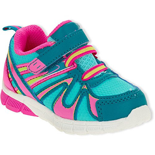 (Danskin Now Girls' Bungee Lace Lightweight Athletic Cushioning Running Shoe, Multi Color (2 Little Kid (Girl)))