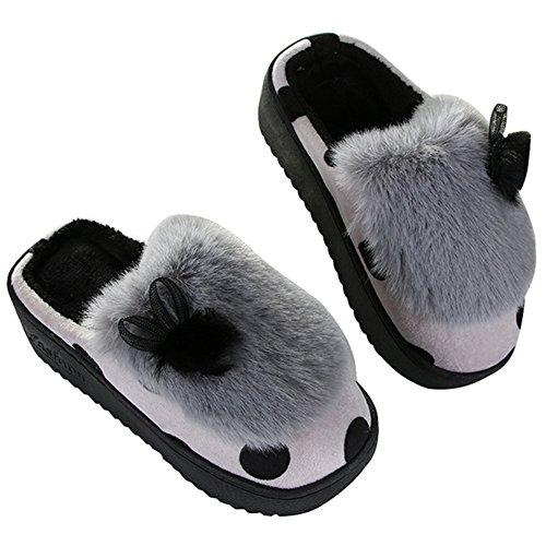 Winter Cozy Womens Fur Memory Foam Bow House Slippers Anti Slip Velvet Lining Couple Slip on Home Slipper Gray lEa06W2