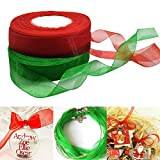 Misscrafts Organza Ribbons For Christmas Gift Wrapping Decor 50m Green Red