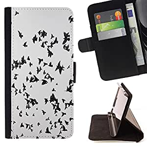For HTC One Mini 2 M8 MINI Case , Las aves migratorias Negro Blanco Flock Cielo Profundo- la tarjeta de Crédito Slots PU Funda de cuero Monedero caso cubierta de piel