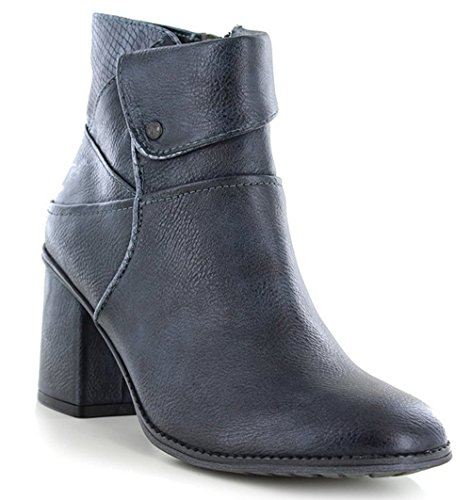Mustang ,  Damen Combat Boots Navy and Grey
