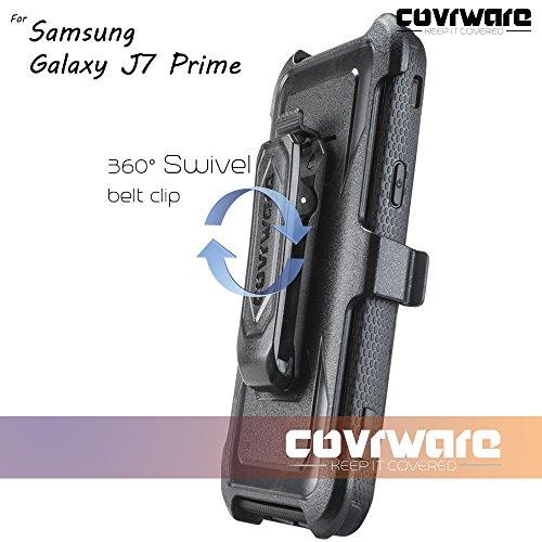 Samsung Galaxy J7 Prime/J7 Sky Pro/J7 Perx/J7 V 2017/J7 2017 Case, COVRWARE [Aegis Series] w/Built-in [Screen Protector] Heavy Duty Full-Body Rugged Holster Armor Cover [Belt Clip][Kickstand], Black by COVRWARE (Image #8)