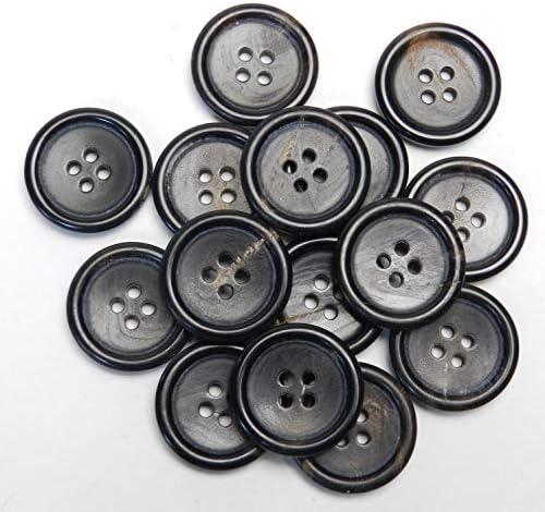 こげ茶色系 水牛ボタン 23mm 4穴 コート 最適 15個入り KUSUI-23-MB-607