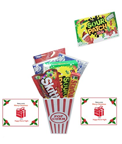 Movie Night Fun Holiday Flavors Gift Basket ~ Includes Butter Popcorn, Concession Stand Candy and a Gift Card for 2 Free Redbox Movie Rentals (Sour Patch Kids Christmas) ()