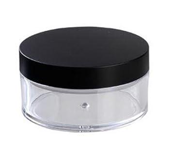Claro 50 g 50 ml plástico 2 pcs polvo puff contenedor caso Maquillaje Cosméticos tarros Face
