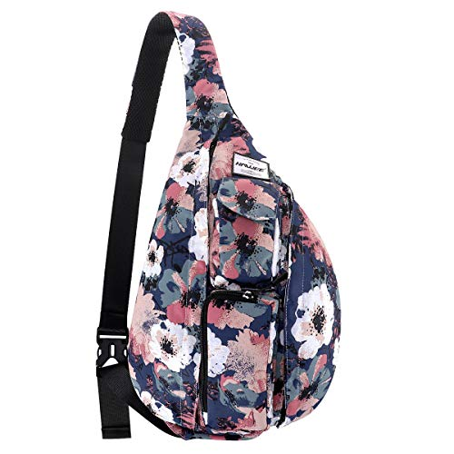 HAWEE Chest Bag for Women Hiking Backpack Sling Bags Travel Crossbody Daypack, Retro Camellia