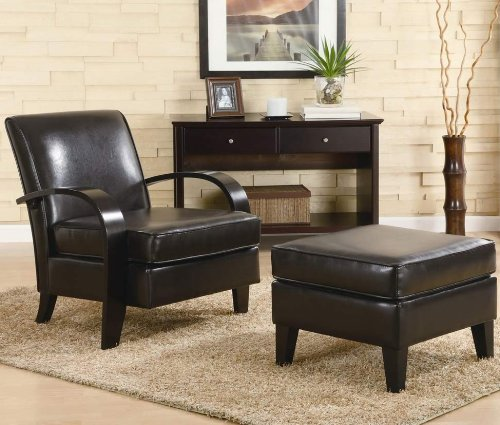 Brown Ottoman Accent (Roundhill Furniture Wonda Bonded Leather Accent Arm Chair with Ottoman, Brown)