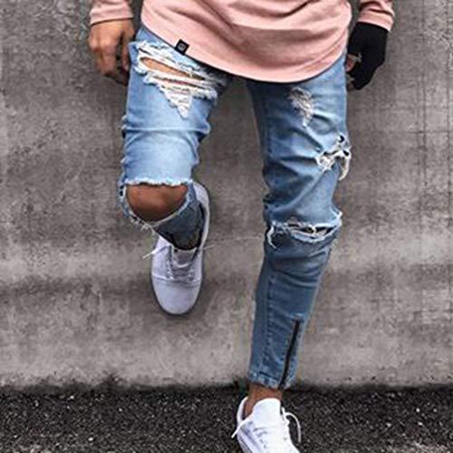 La del De Algodón Vaqueros Pantalones Dril La Yasminey Media Cómodo De del Arrugadas Rodilleras Pantalones De Recto De Blau Cintura Manera Respirable Joven Pierna Hombres Mendigo del De Cierre Los La EgHwtPqw