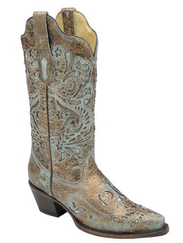 Corral Women's R1255 Glitter Inlay Bronze Western Boots 8 M