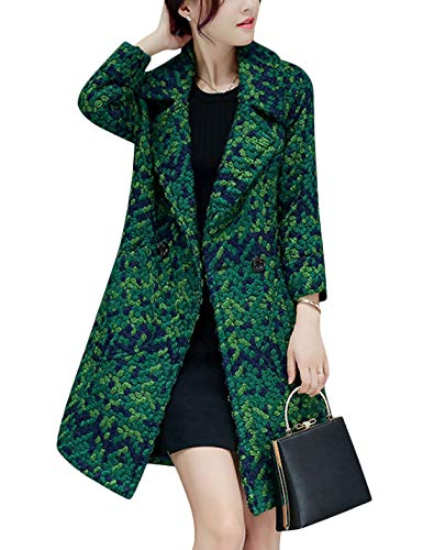 (Tanming Women's Winter Fashion Button Front Wool Blend Plaid Coat Trench Coat (Green, Medium))
