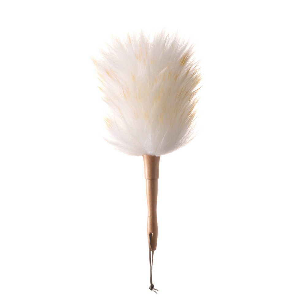 Deselen WD02-13.2 Inch Pure Lambs Wool Feather Duster with Wooden-dowel Handle