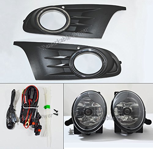 Remarkable Power FL7113 2010 2011 2012 2013 2014 MK6 Volkswagen Golf / TDI Jetta Sportwagen Chrome Black Bezel Fog Light Kit