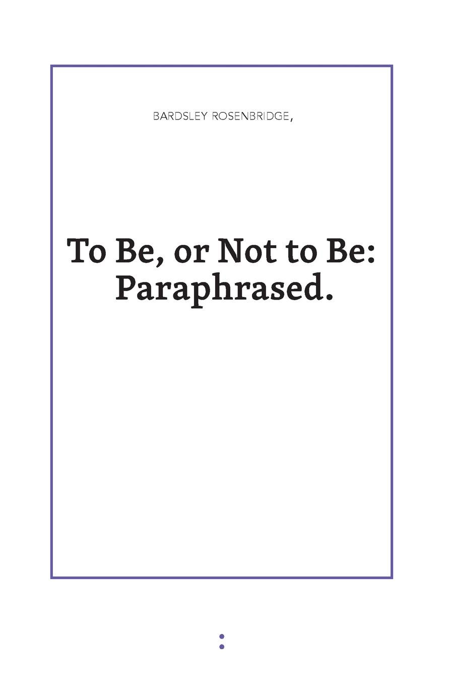Download To Be or Not to Be: Paraphrased PDF