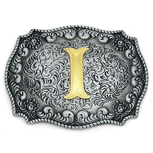 Western Belt Buckle Initial Letters ABCDEFG to Y-Cowboy Rodeo Silver Large Belt Buckle for Men and Women (I) Upgrade