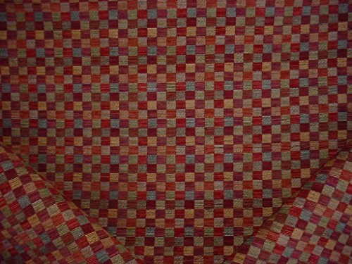 92RT22 - Mulberry / Terracotta / Sienna / Mustard Southwest Mosaic Block Chenille To the Trade Designer Upholstery Drapery Fabric - By the Yard