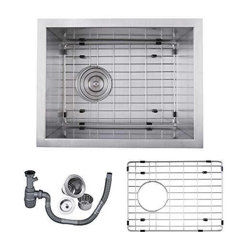 Sink Basket Grid - KES SUS 304 Stainless Steel Kitchen Sink Single Bowl Undermount Deep 16 Gauge Zero Radius with Drain Stainer Basket and Bottom Grid Protector 14 x 18 x 8 Inch European Contemporary Style, UB3646-C1