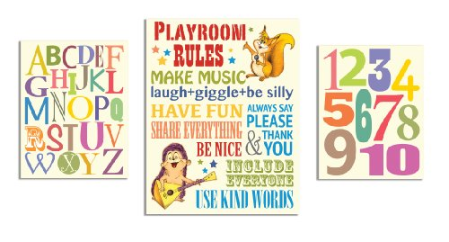 The Kids Room by Stupell Playroom Rules; Alphabet; Numbers 3-pcs. Multi-Size Wall Plaque Set ()