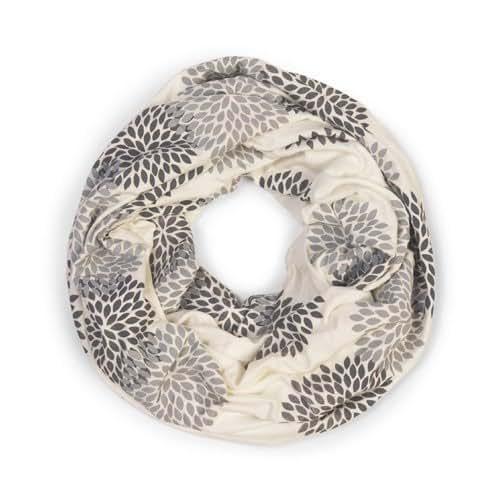 ORIGINAL INFINITY - Hand Printed - Gray Flowers on Cream