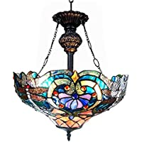 Chloe Lighting CH1B715BD17-UH2 Lydia Tiffany Style Victorian 2-Light Inverted Ceiling Pendant Fixture with 17 Shade by Chloe Lighting