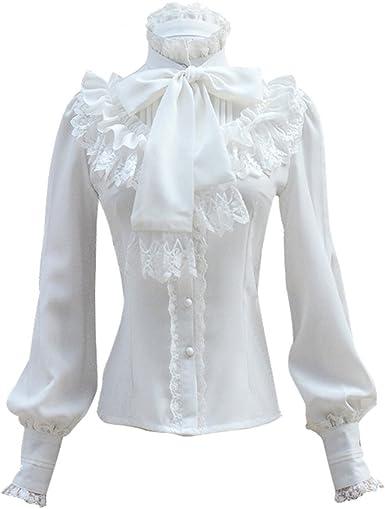 Double Villages Falda Plisada con Volados de Gasa Blusa para Mujer Blusa Lolita Victoriana Retro Blusa: Amazon.es: Ropa y accesorios