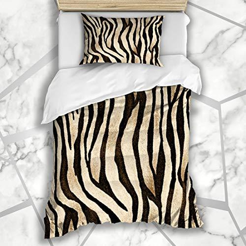Ahawoso Duvet Cover Sets Twin 68X86 Brown Zebra Tiger Skin Pattern Blue Leopard Fur Cheetah Winter Nature Microfiber Bedding with 1 Pillow Shams