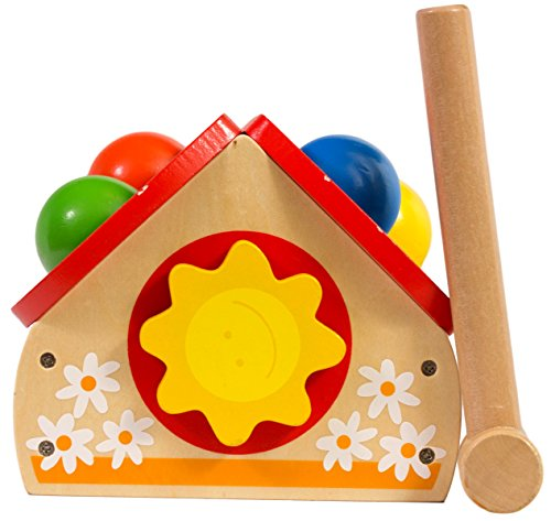 Pounding Wooden Toy House with Toy Hammer, Unique Design for