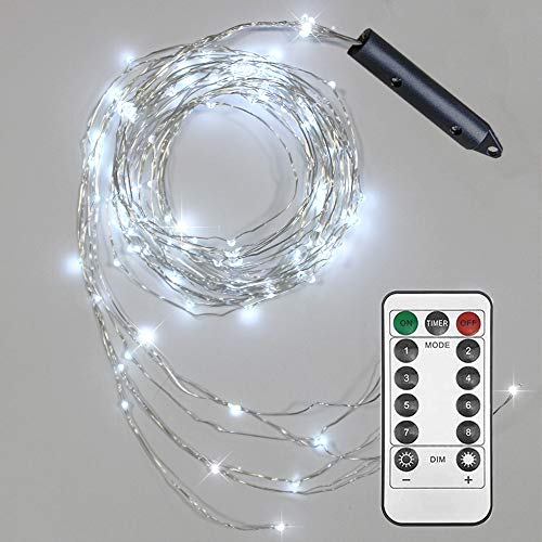 Soltuus 2 Pack 120 LED String Fairy Lights with Remote and Timer, Battery Operated Starry Copper String Lighting, Waterproof Watering Can Light, Plants Tree Vines Decorations, Cool White