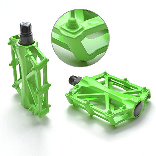 Agptek Mountain Bike Pedals 9/16' MTB BMX Bearing Alloy Bicycle Pedals for Mountain Cycling Road Bicycles (Green)