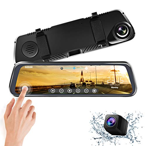 CHICOM Mirror Dash Cam 10 Inch Touch Screen 1080P Rear View Mirror Camera Front and Rear Dual Lens Backup Camera with G Sensor 24 Hours Parking Monitor