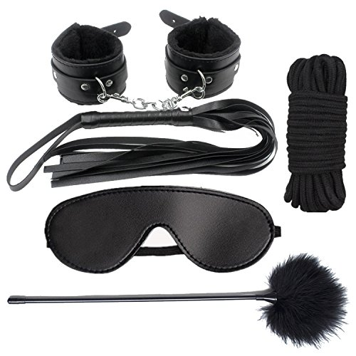 BDSM Restraint Kit, iMiMi Under Bed Restraint Sex for Sex Play Bondage Collection Sets Sex Tings with Furry Cuffs Handcuffs, Blindfold, Feather for Couples by iMiMi