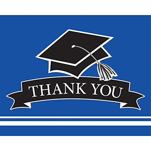 Creative Converting 25 Count School Spirit Graduation Thank You Notes, Cobalt (Graduation Thank You Notes)