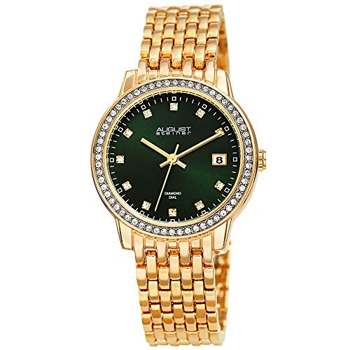 August Steiner China Crystal Accented Women's Watch - Gold Tone Designer Stainless Steel Bracelet Band - Green Sunray Dial, Diamond Markers -AS8262GN
