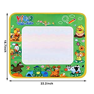 Fashine Magic Drawing Mat Colorful Aquadoodle Drawing Mat with A Pen Eco-Friendly & Educational Toddler Toy Set Creative Water Doodle for Girls, Boys, Kids
