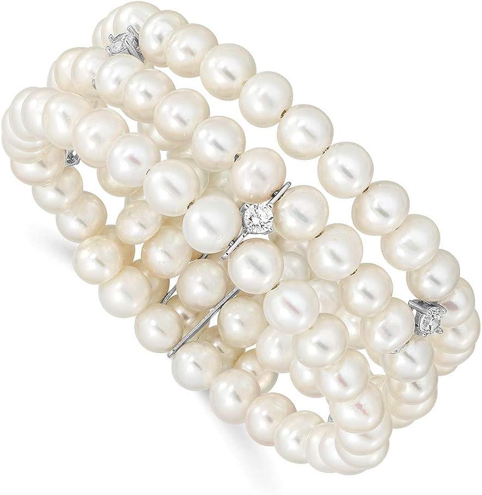 925 Sterling Silver Ladies Adjustable Bracelet  Rhodium PLATED CZ /& PEARLS