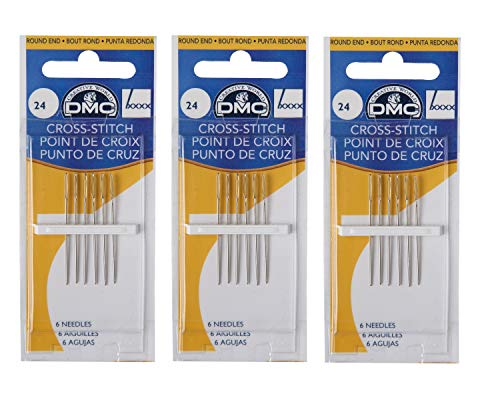 - 3 Pack DMC Size 24 Cross Stitch Needles (Total 18 Needles)