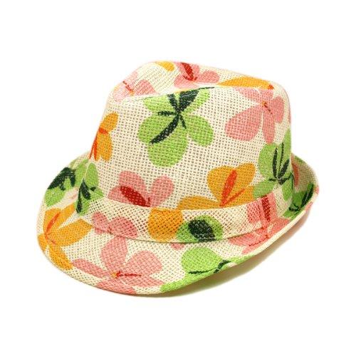 Premium Flower Print Fedora Straw Hat With Matching Band
