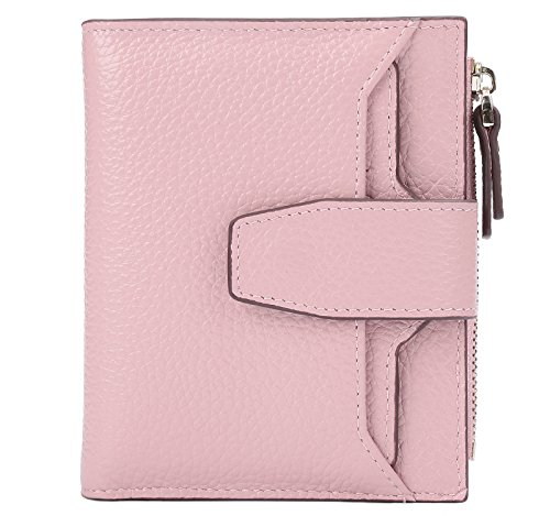 AINIMOER Women's RFID Blocking Leather Small Compact Bi-fold Zipper Pocket Wallet Card Case Purse (Lichee Pink)