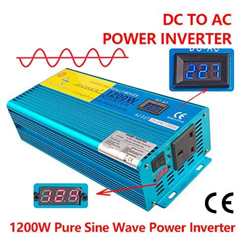 Cantonape 1200W/2400W(Peak) Pure Sine Wave Power Inverter Converter DC 12V to 230V AC with LCD Display, Universal socket for Car Boat Truck RV Solar Power