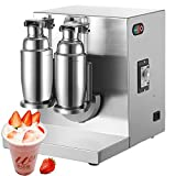 Happybuy 120W 110V Electric Milk Tea Shaker Machine 400r/min Double Frame Auto Stainless Steel for Restaurant, 35x12x14 Inch, Sliver For Sale