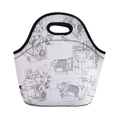 Semtomn Lunch Bags White Car Big Diesel Engine the Truck Depicted Neoprene Lunch Bag Lunchbox Tote Bag Portable Picnic Bag Cooler Bag