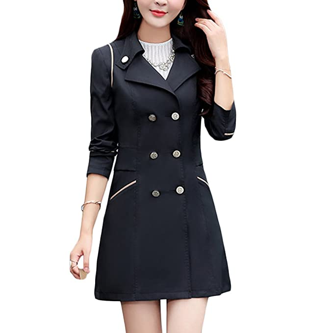 ae6140f96dc Verypoppa Women s Lightweight Slim Trench Coat Jacket Outwear (US 0-2 Asia M