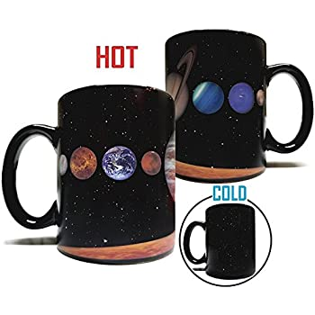 The Rising Sun Solar System Planets 11oz Color Changing Heat Sensitive Mug - Grade A Ceramic - Perfect Educational / Fun Cool Mug Gift