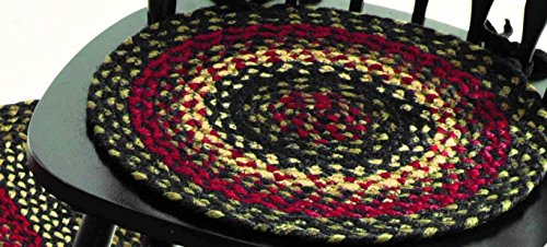 IHF Home Decor Tartan Jute Braided Chair Cover Round Rug 15 Inch Set of 4