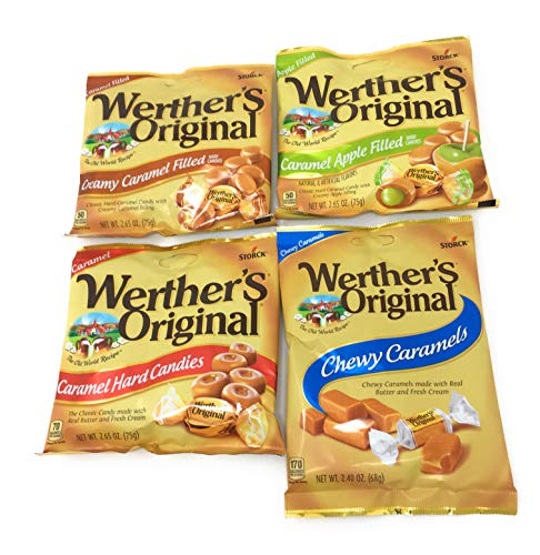Werthers Bundle (4 Items) Variety Pack (Original Hard Candies/Chewy Caramels/Creamy Caramel Filled/Caramel Apple ()