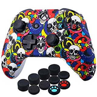 YoRHa Printing Rubber Silicone Cover Skin Case for Xbox One S/X Controller x 1(Madeup Skulls) with Thumb Grips x 10