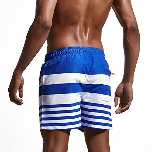 Feicuan Homme Beach Stripe Color Trunks Maillot de Bain Drawstrings Shorts -L11