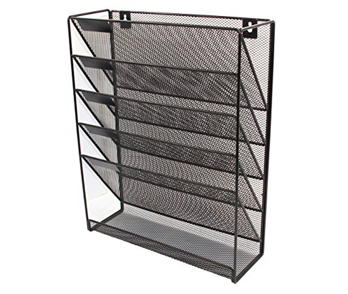 PAG Hanging Wall File Holder Mail Sorter Magazine Rack Office Supplies Metal Mesh Desk Organizer, 6 Tier, Black