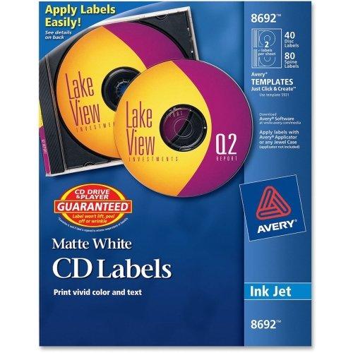Avery CD/DVD Label - 40 / Pack - Inkjet - White