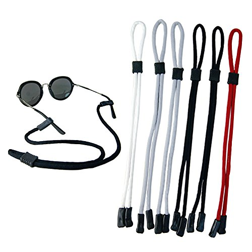 Pack of 6 Sunglass Holder Strap For Men and Women, Great for Sports and Outdoor Activities, Safety Glasses Sunglasses Holder Eyeglasses Neck Cord String Eyewear Retainer - 6 Pack Sunglasses
