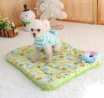 Sun Glower Bonita Cama para Su Mascota Lindo diseño Perro Manta para Mascotas cojín Gato Cama para Gatos Suave cálido Dormir Mat (Verde, 37cm * 47cm): ...